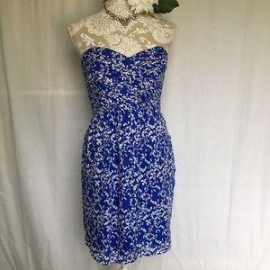 Shoshanna // Blue Silk Strapless Pleated Dress 4